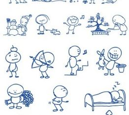 ballpoint pen drawing cartoon clip 2 set vector