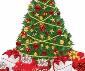 Christmas Tree with Gifts Illustration vector