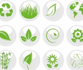 Green Nature on White icons vectors graphic