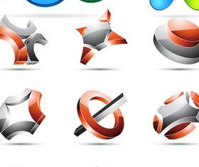 Abstract 3D Logotypes design vector