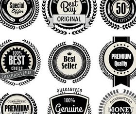 Quality Black Labels shiny vector