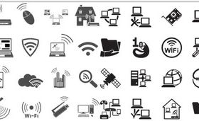Black Network Icons 2 design vector