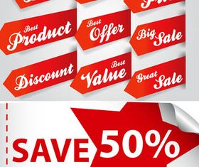 Red Sale Elements vector graphics