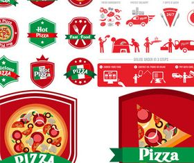 PizzLabels Set design vector