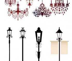 gorgeous chandelier lights silhouette vectors graphics