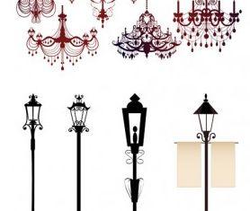gorgeous chandelier lights silhouette vectors graphics