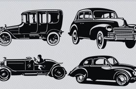 Vintage Car Silhouette Pack design vector