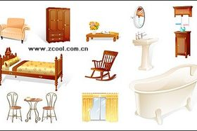 household goods icon material vectors