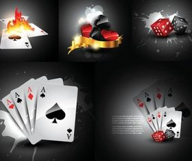 playing cards and dice vector