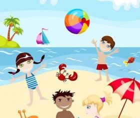 cartoon kids summer 02 vectors material