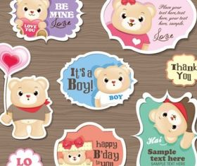 cute cartoon stickers 03 vector design