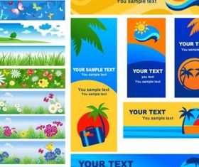 summer banner vector set