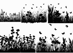grass and butterflies silhouette vector