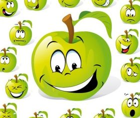 cartoon fruit expression 01 vector design