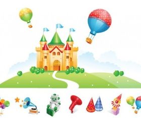 Castle and Toys vector graphic