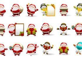 Christmas SantIcon Set design vectors
