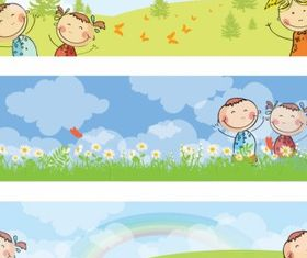 Horizontal kids banners vector