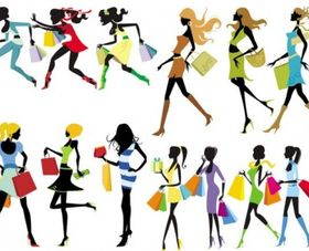 fashion shopping girl vectors