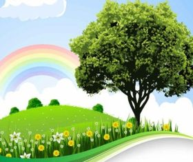 cartoon natural landscape background vector
