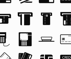 Silhouette Banking Icons 4 vector