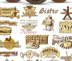 Fastfood Labels Set vector