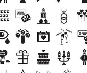Black Wedding Icons vectors