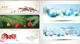 Shiny Christmas Banners vector graphic