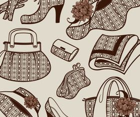 Women accessories patterns set vector