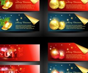 christmas banner vector set