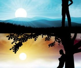 sunset silhouette and characters vector