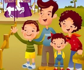 cartoon illustration family 8 vector