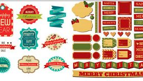 Shiny Christmas Labels vector