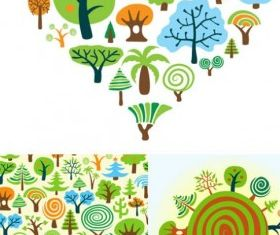variety cartoon trees set vector