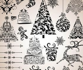 X-mas Vintage Elements set vector