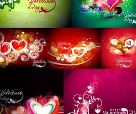 colorful love card vector set