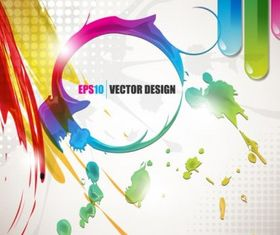 Color paint splashes background vector graphics