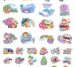 Clip art cartoon character scenes vector