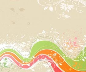Flower Grunge Background set vector