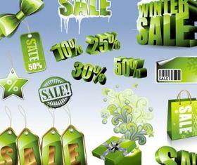 sales discount green icon vector