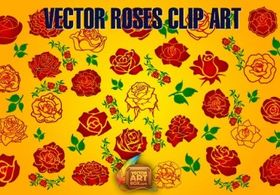 Roses Clip Art set vector
