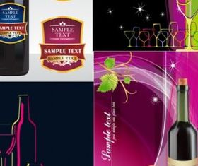 wine bottles paste banner vector