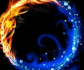 Fire and water ring art vector