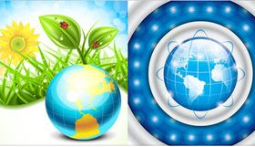 Backgrounds with Globes 7 vector