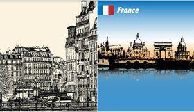 Backgrounds with Paris Set vector