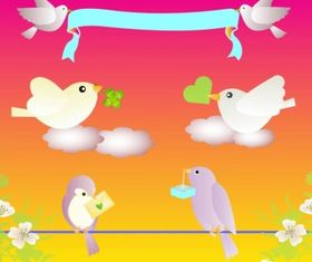 Birds Love free set vector