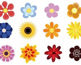 Cute Flowers free vector material