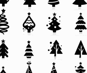 Silhouettes Christmas Trees vectors