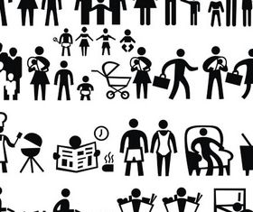 Silhouette Family Icons 2 design vectors
