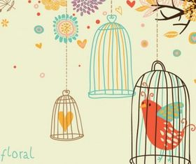 cute birds 6 set vector