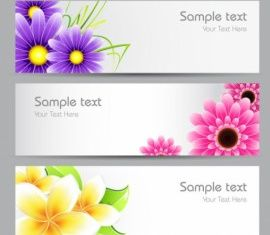 flowers banner 01 design vectors